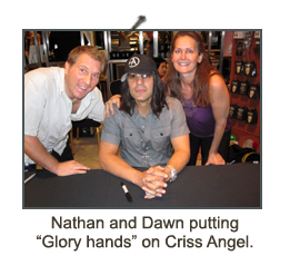 This is a picture of Nathan and Dawn with Criss Angel.